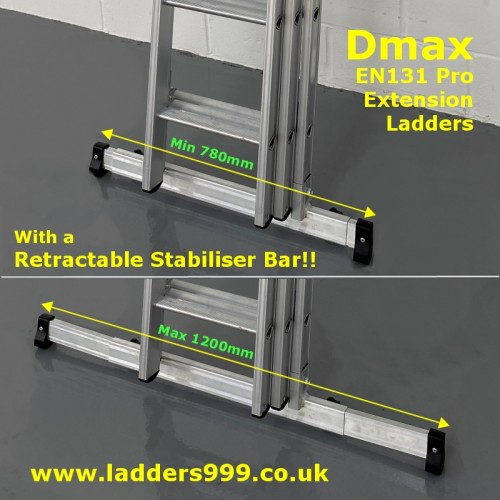 DMAX Professional Ladders with Retractable Stabiliser Bar