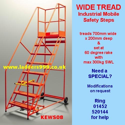 WIDE TREAD Industrial Steel Mobile Safety Steps