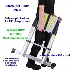 CLICK'n'CLIMB PRO 3.8m Telescopic Ladder