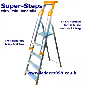 """SUPER-STEPS"" With Twin Handrails - EN131 Non-Pro"